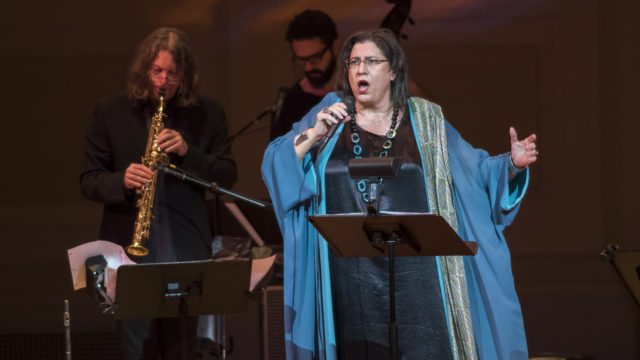 MARIA FARANTOURI performs a concert at Isaac Stern Auditorium, Carnegie Hall, on May 12, 2018.  She performs the music of Mikis Theodorakis.  Photo Credit: Stephanie Berger.
